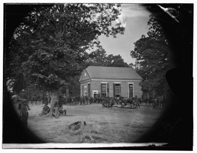 Massaponax Church, Virginia. View of the church, temporary headquarters of General Ulysses S. Grant, surrounded by soldiers, May 21, 1864 (Timothy O'Sullivan/ Library of Congress)