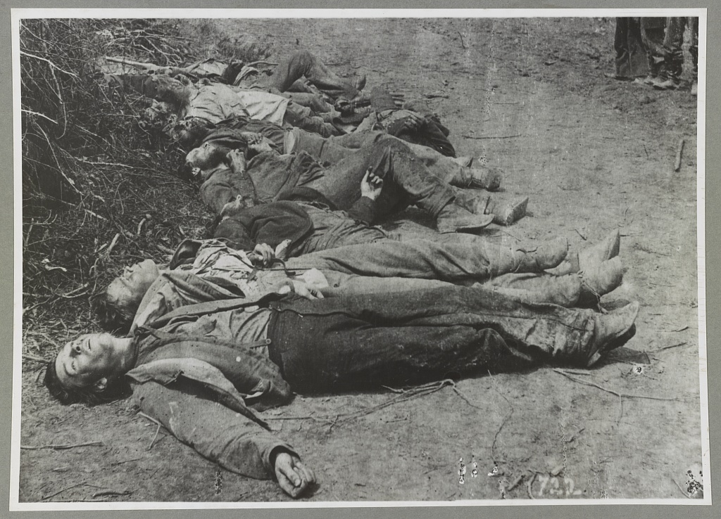 Dead of Ewell's Confederate Corps, laid out for burial near Mrs. Alsop's House, Spotsylvania, May 20, 1864 (Timothy O'Sullivan/Library of Congress)