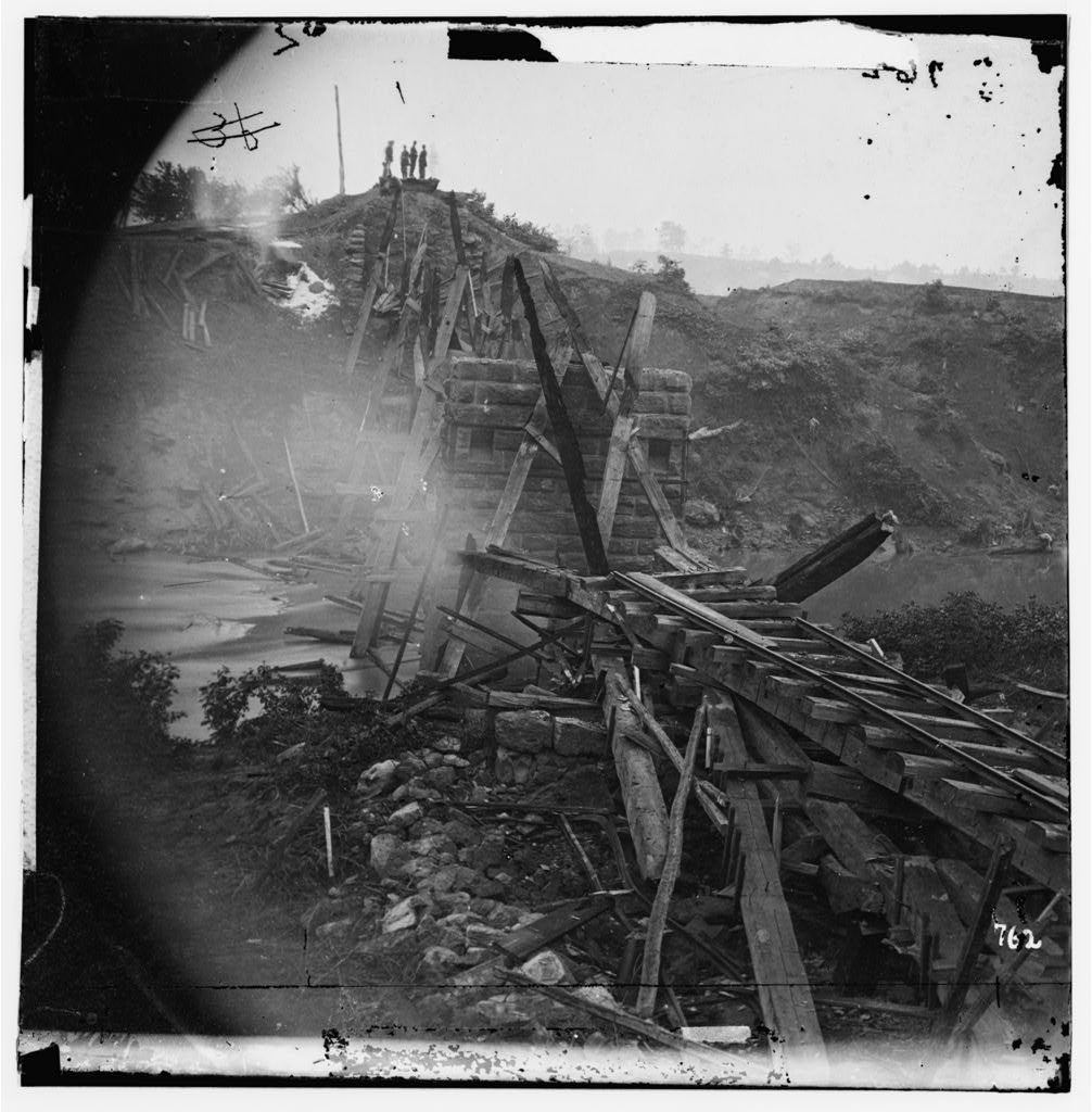 North Anna River, Virginia. Destroyed bridge of the Richmond and Fredericksburg Railroad, May 25, 1864 (Timothy O'Sullivan/ Library of Congress)