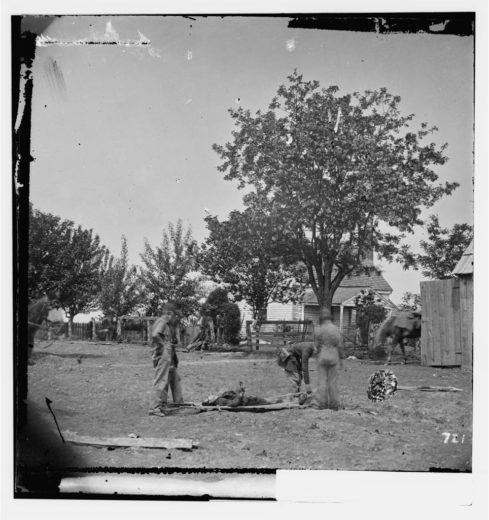 Spotsylvania Court House, Virginia. Burial of soldier my Mrs. Alsop's house, near which Ewell's Corps attacked the Federal right on May 19, 1864 (Timothy O'Sullivan/ Library of Congress)