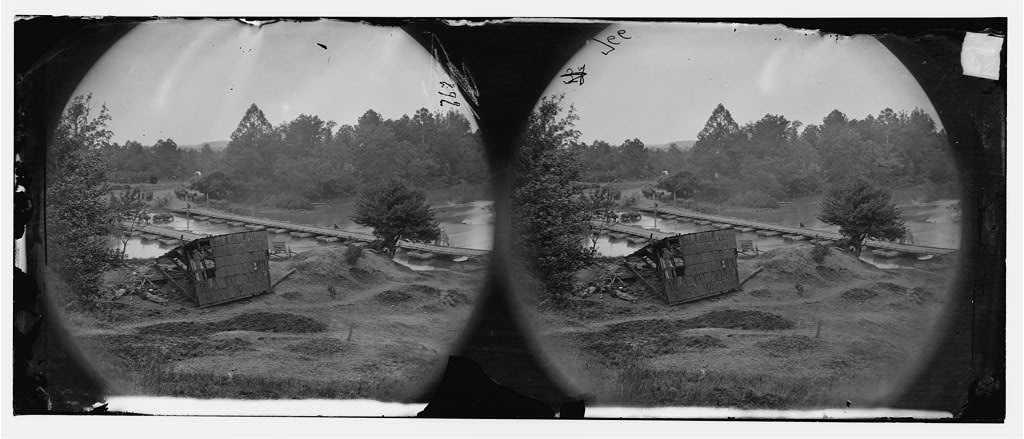 Hanovertown Ferry, Virginia. Canvas pontoon bridges at Hanovertown Ferry, constructed by the 50th New York Volunteer Engineers, May 28, 1864 (Timothy O'Sullivan/ Library of Congress)