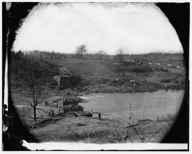 Germanna Ford, Rapidan River, Virginia. Ruins of bridge at Germannia Ford, where the troops under General Grant crossed, May 4, 1864  (Timothy O'Sullivan, Library of Congress)
