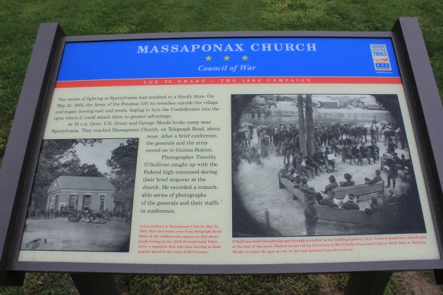 Information panel at Massaponax Church (Damian Shiels)