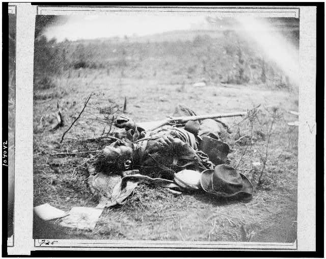 One of Ewell's confederate Corps as he lay on the field, after the battle of the May 19, 1864, Spotsylvania (Timothy O'Sullivan/ Library of Congress)