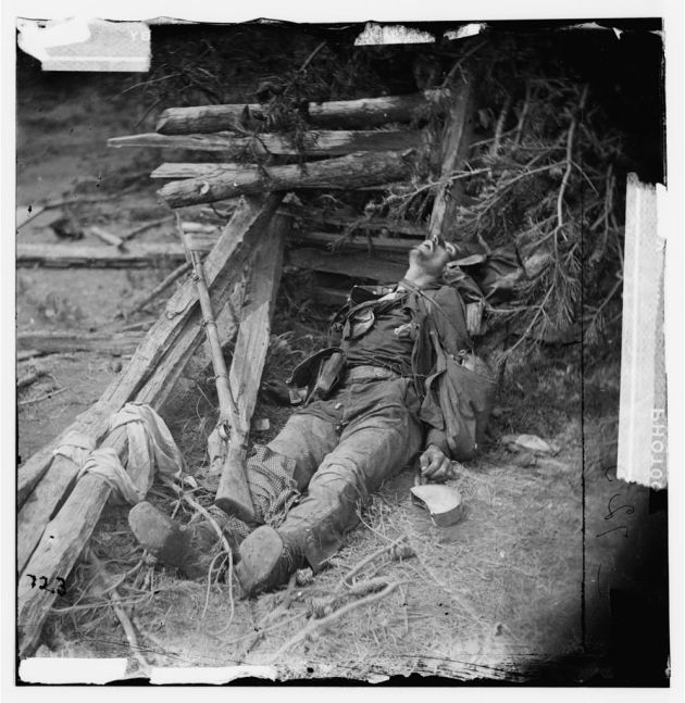 Spotsylvania Court House, Virginia. Body of a Confederate soldier near Mrs. Alsop's house, May 20, 1864 (Timothy O'Sullivan/ Library of Congress)
