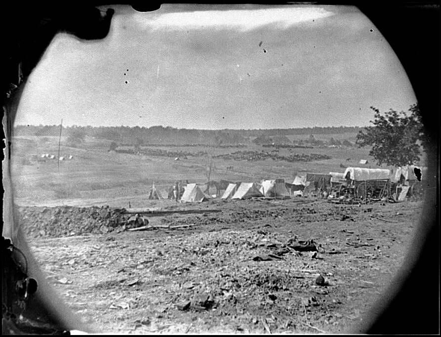 Spotsylvania Court House, Virginia, vicinity. View from Beverly House looking towards Spotsylvania Court House, May 19, 1864 (Timothy O'Sullivan/ Library of Congress)