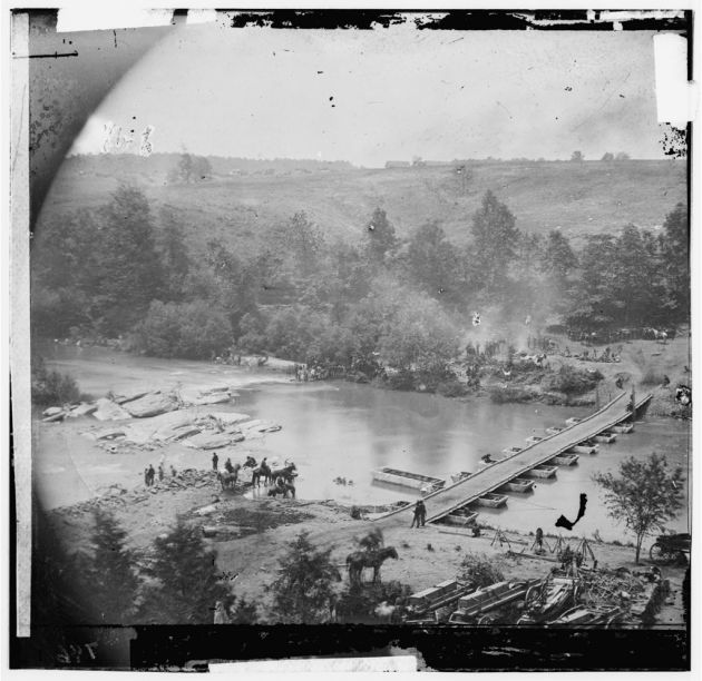 Jericho Mills, Virginia. Canvas pontoon bridge across the North Anna, constructed by the 50th New York Engineers; the 5th Corps under General Gouverneur K. Warren crossed here on the 23d. View from north bank, May 23, 1864 (Timothy O'Sullivan/ Library of Congress)