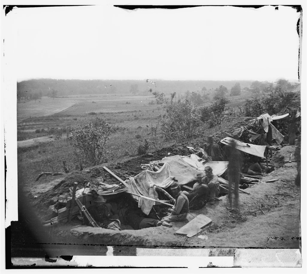 North Anna River, Virginia. Federal troops occupying a line of breastworks on the north bank, May 25, 1864 (Timothy O'Sullivan/ Library of Congress)