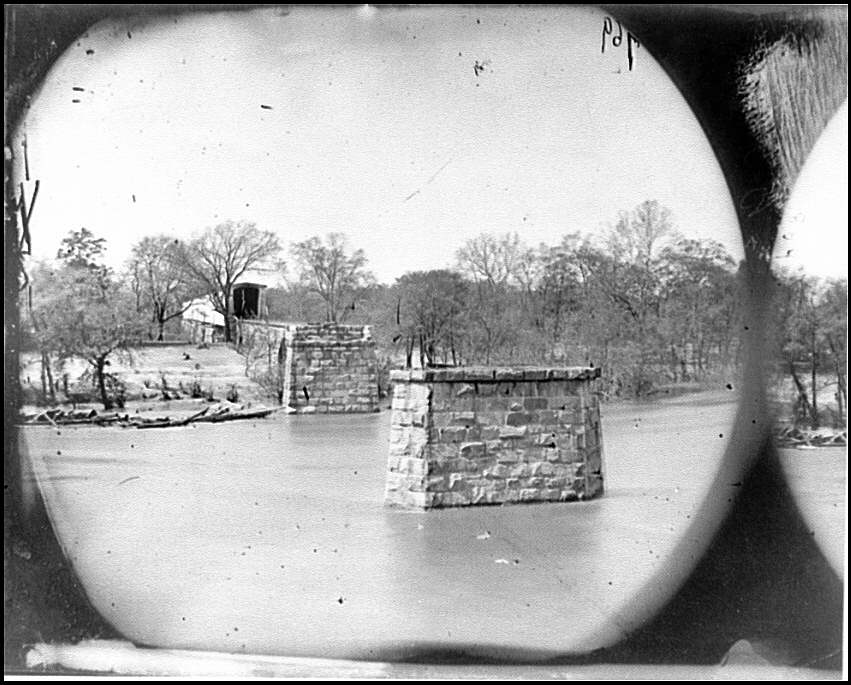 Mrs. Nelson's Crossing, Virginia. Ruins of the Richmond and York River Railroad bridge across the Pamunkey, above White House (Timothy O'Sullivan/ Library of Congress)