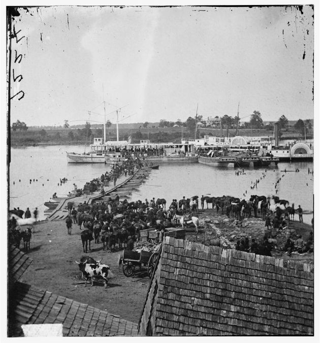 port Royal, Virginia. Transports being loaded from a pontoon bridge during the evacuation, May 30, 1864 (Timothy O'Sullivan/ Library of Congress)