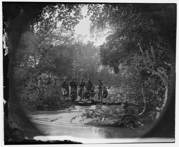 North Anna River, Virginia. Pontoon bridges across the North Anna, below railroad bridge, where a portion of the 2nd Corps under General Hancock crossed, May 23, 1864 (Timothy O'Sullivan/ Library of Congress)