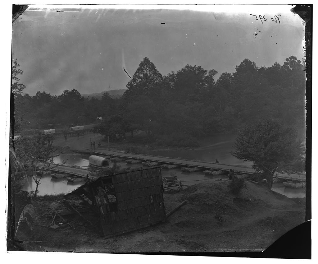 Hanovertown Ferry, Virginia. Pontoon bridges across the Pamunkey, with wagons, May 1864 (Timothy O'Sullivan/ Library of Congress)