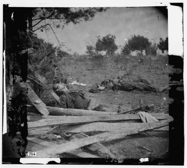 Spotsylvania Court House, Virginia. Bodies of Confederate soldiers near Mrs. Alsop's house, May 20, 1864 (Timothy O'Sullivan/ Library of Congress)
