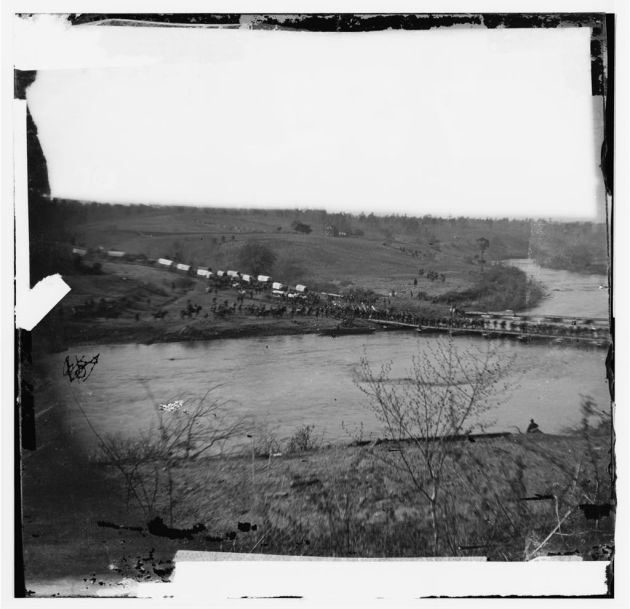 Germanna Ford, Rapidan River, Virginia. Grant's troops crossing Germanna Ford, May 4, 1864 (Timothy O'Sullivan/ Library of Congress)