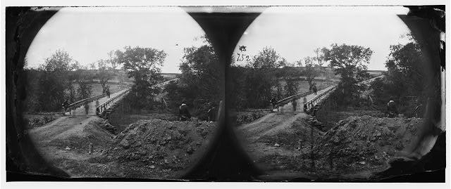 North Anna River, Virginia. Chesterfield Bridge with Confederate redoubt in the distance, carried by the 2nd Corps under General Hancock, May 23, 1864 (Timothy O'Sullivan/ Library of Congress)