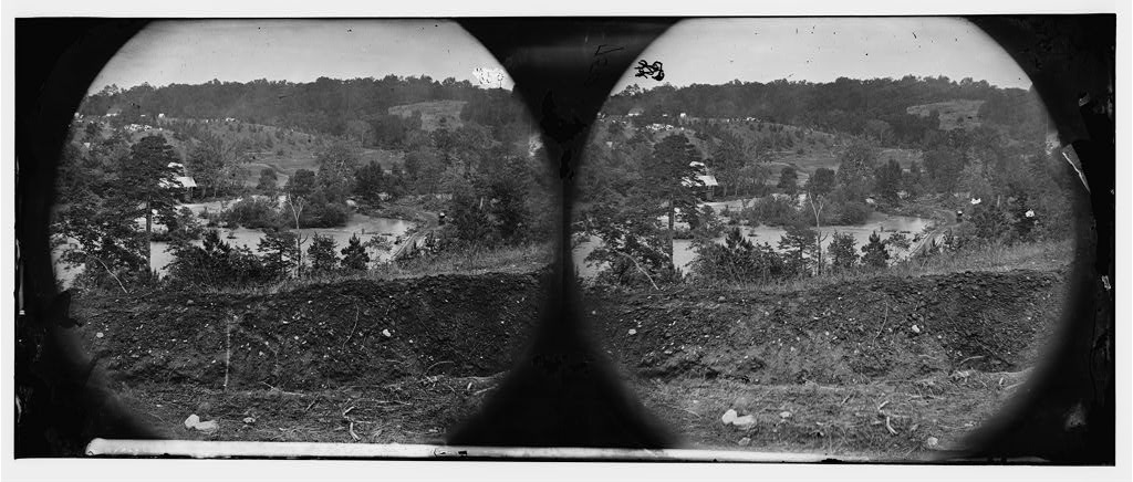 North Anna River, Virginia. View of log bridge at Quarles Mill from south side. Camp of general headquarters in the distance, May 26, 1864 (Timothy O'Sullivan/ Library of Congress)