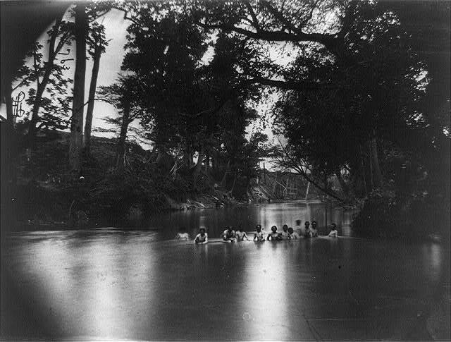 Soldiers bathing, North Anna River, Virginia. Ruins of railroad bridge in background, May 1864 (Timothy O'Sullivan/ Library of Congress)
