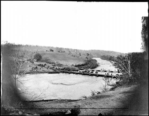 Germanna Ford, Rapidan River, Virginia. Artillery crossing pontoon bridges, May 4, 1864 (Timothy O'Sullivan/ Library of Congress)