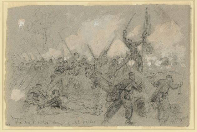 The Charge of the 164th New York at Cold Harbor on 3rd June 1864 by Alfred Waud (Library of Congress)