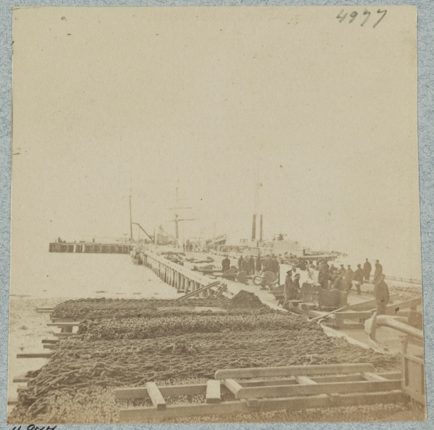 The Army Wharf at Hilton Head, South Carolina as it appeared in 1862 (Library of Congress)