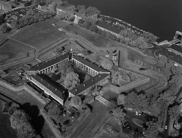 An aerial view of Fort Jay, formerly Fort Columbus, where Patrick Kelly was training with the 28th Massachusetts Infantry (Library of Congress)