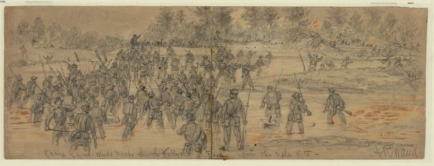 Sketch of an engagement at Kelly's Ford in November 1863. Patrick Kelly would be on picket duty here a month later with the 28th Massachusetts (Library of Congress)