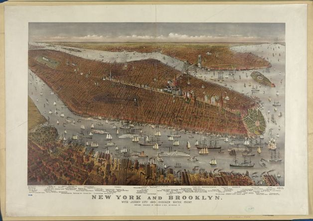 New York, Brooklyn, Jersey City & the Hoboken Waterfront as they appeared in a Currier & Ives sketch of 1877 (Library of Congress)