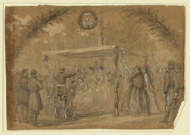 An Alfred Waud sketch of a marriage in the 7th New Jersey Infantry. This took place shortly after Hugh left the regiment (Library of Congress)
