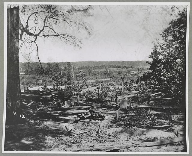 The Peachtree Creek Battlefield in Georgia, with graves of the fallen (Library of Congress)