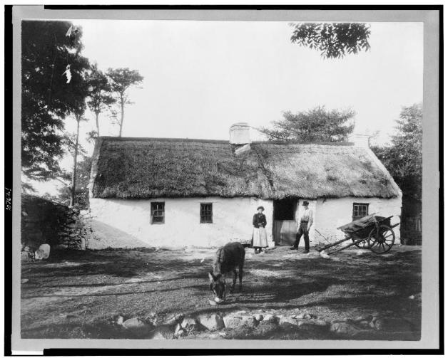 Separation. Many Irish families could not afford to emigrate together. For whatever reason, all three of these women's husbands left their family home for America, never to return (Library of Congress)