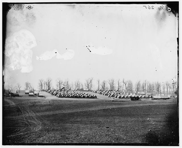 The Camp of the 6th New York Heavy Artillery at Brandy Station, April 1864. Nicholas Sheppel was in the regiment when this image was exposed (Library of Congress)