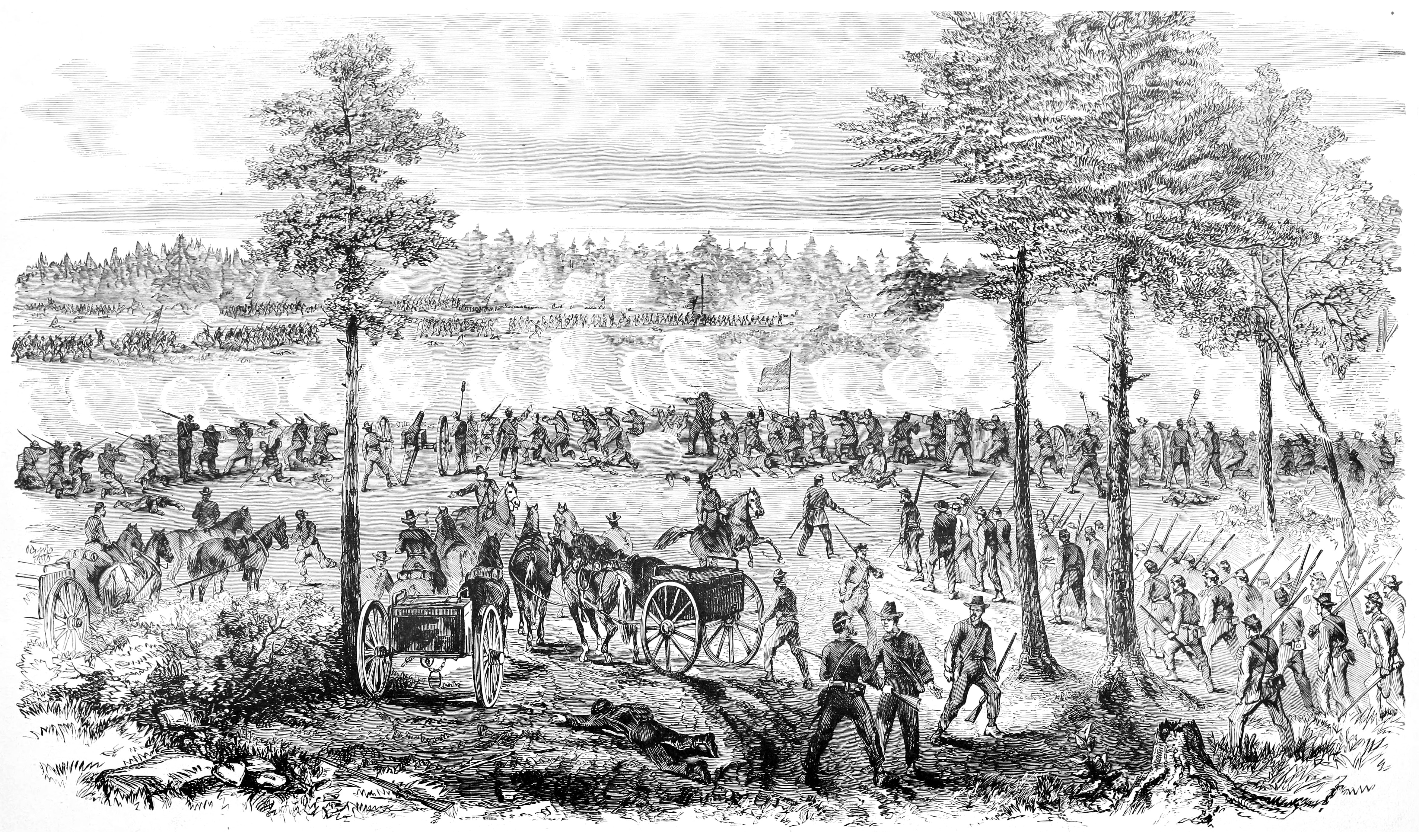 The Second Battle of Ream's Station as depicted in Frank Leslie's Scenes and Portraits of the Civil War (Frank Leslie)