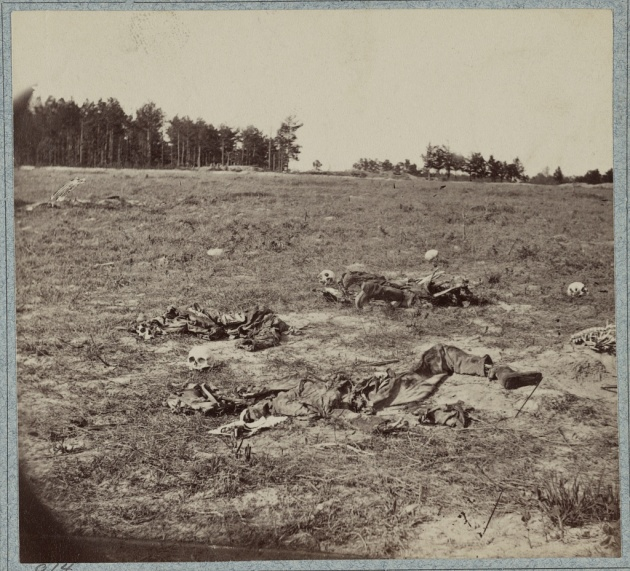 The skeletal remains of the fallen still litter the battlefield of Gaines' Mill in this image taken later in the war. This was the engagement in which Francis Michael Cleary lost his life (Library of Congress)