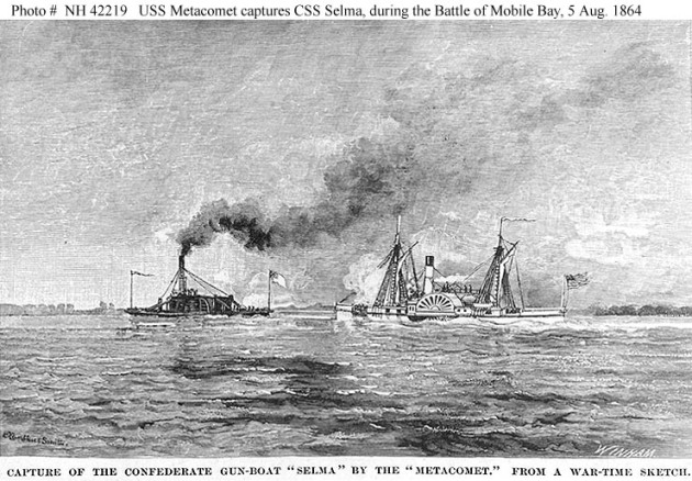 The USS Metacomet captures the CSS Selma at the Battle of Mobile (Naval Historical Center)