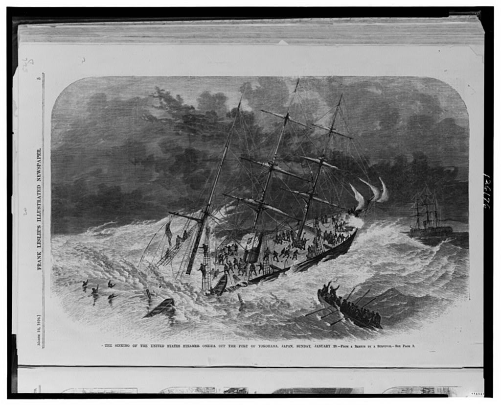 The USS Oneida portrayed during her sinking off Japan in 1870 (Library of Congress)