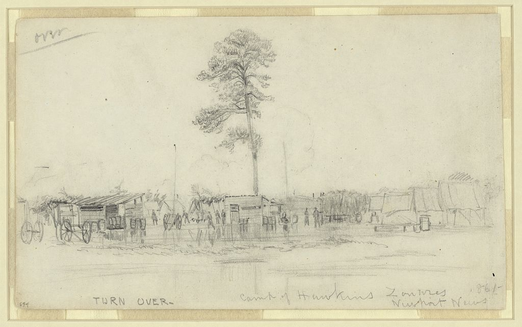 The Camp of the 9th New York- Hawkins' Zouaves- at Newport News, Virginia in 1861. James Fleming wrote his letter home to Larne from here that August (Library of Congress)