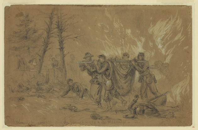 Battlefield Artist Alfred Waud's depiction of Union attempts to save the wounded caught in The Wilderness fires (Library of Congress)