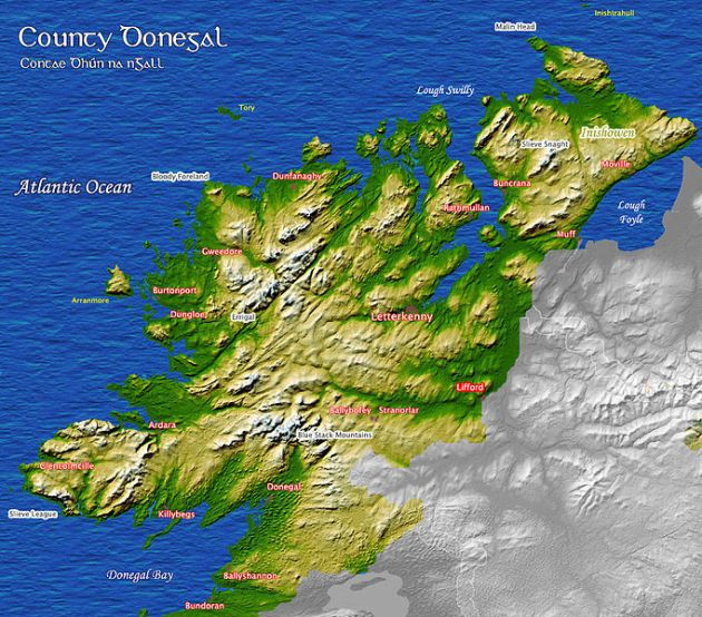 Map of Donegal. Donaghmore where the Kelly, O'Donnell and Sharkey families hailed from is located in the east of the county, near the Co. Tyrone border (via Wikipedia created by Kanchelskis)