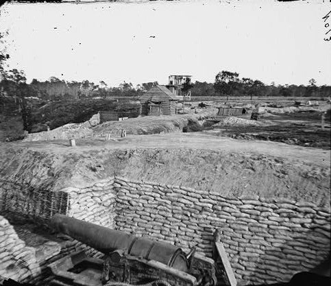 '...Mortar shells from Howlett's Battery...'. The Confederate Battery at Howlett House which fired on the U.S.S. Onondaga and other Federal vessels on Thanksgiving Day, 1864 (Library of Congress).
