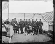 Officers on the deck of the U.S.S. Onondaga. The identity of the Irish correspondent, 'Garryowen', has not been established (National Archives)