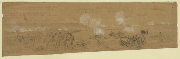 Hooker's Division engaging at Williamsburg, sketch by Alfred Waud (Library of Congress)