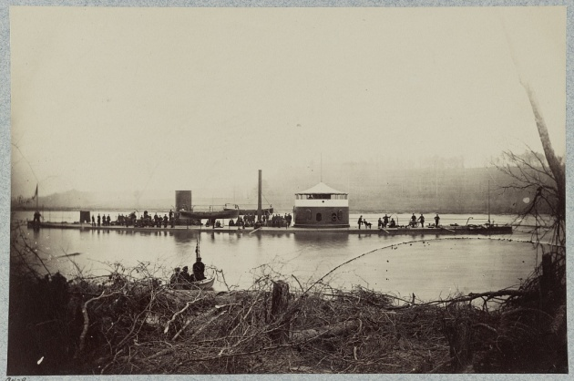 'Having discovered a new iron-clad...they determined to give her a welcome'. The U.S.S. Mahopac on operations on the James RIver (Library of Congress).