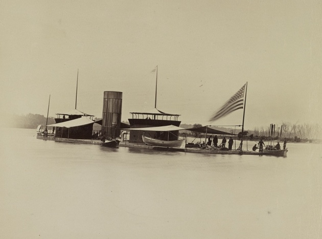 A view of the U.S.S. Onondaga on the James River during the American Civil War (Library of Congress)
