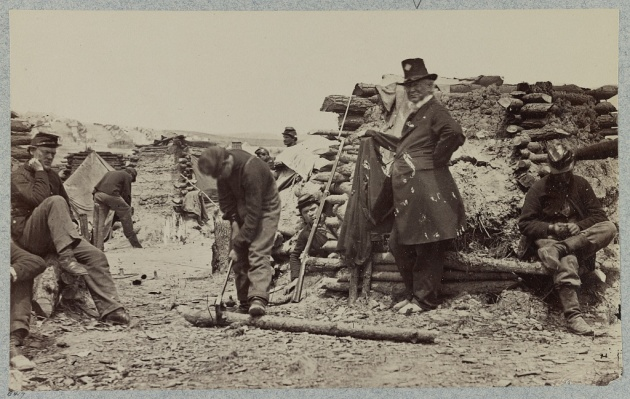 The Camp of the 110th Pennsylvania, Falmouth, Winter 1862. William Dwyer wrote home from a similar camp in Falmouth (Library of Congress)