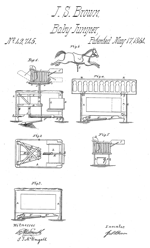 The original 1864 patent drawings for Dr. Brown's 'Baby Tender'. It had a spring to provide and up-and-down motion for the child. The drawings show the different fittings that could be placed on it, from a chair, to a cot and even a hobby horse (Google Patents)