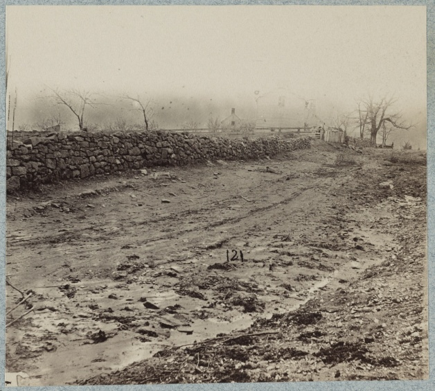 The Stone Wall at the base of Marye's Heights, Fredericksburg, the target of the Irish Brigade Assault (Library of Congress)