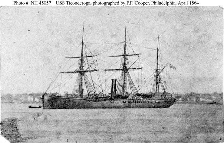 U.S.S. Ticonderoga, April 1864 (Naval Historical Center)