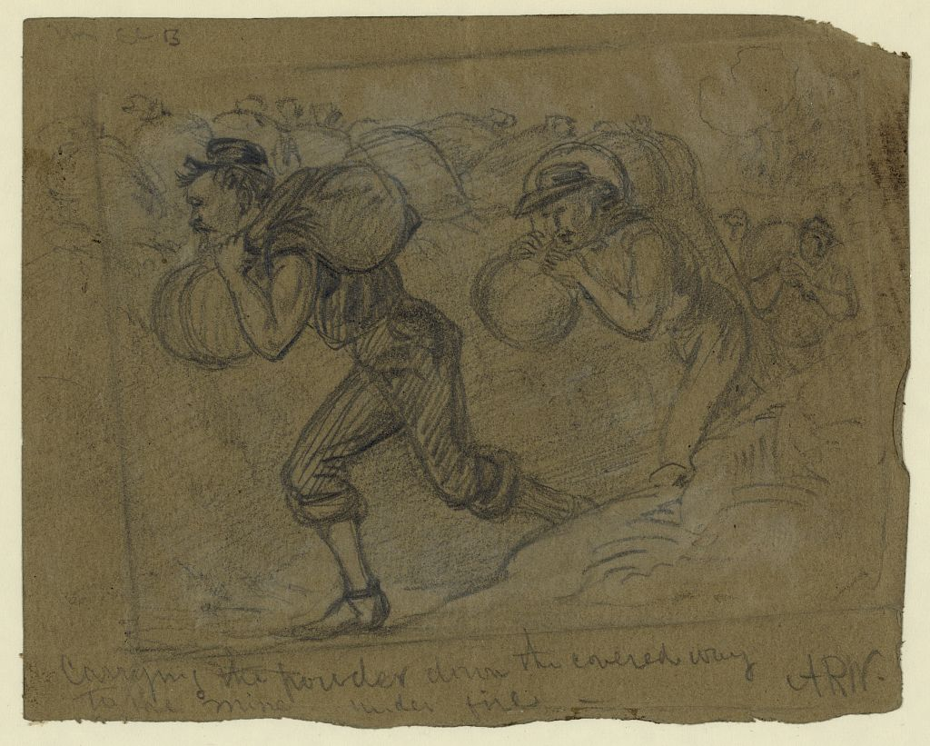 Alfred Waud's sketch of powder for the mine being carried down the covered way while under fire (Library of Congress)