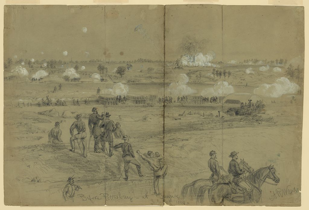 Alfred Waud's sketch of the explosion of the Petersburg mine on 30th July 1864 (Library of Congress)