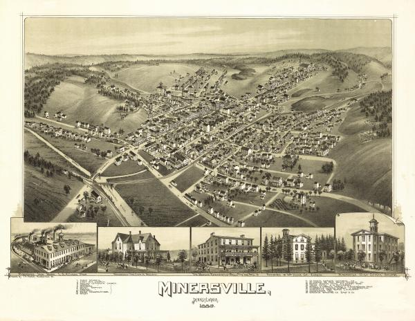 Minersville, Schuylkill County, as it appeared in 1889. It is a town the Delaney's knew well (Wikipedia)